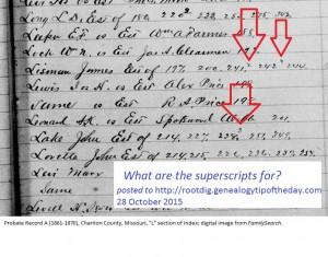 superscripts