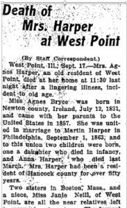 """Death of Mrs. Harper at West Point,"" The Quincy [Illinois] Daily Journal, 17 September 1913; digital copy, Quincy Historical Newspaper Archive, (http://www.quincylibrary.org: accessed 11 January 2017)."