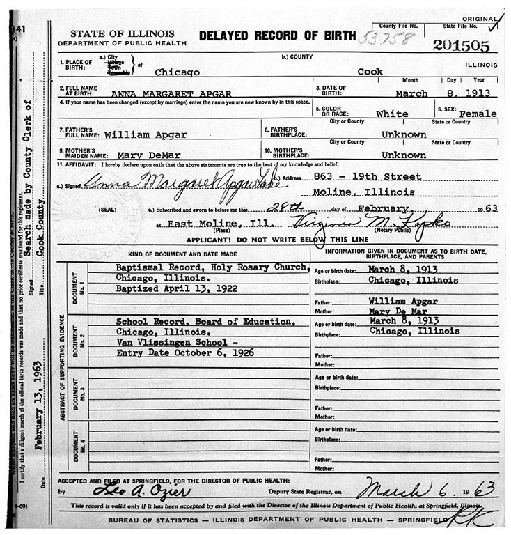 A delayed birth certificate by fifty yearspart ii rootdig lake anna margaret apgar birth certificate smaller yadclub Image collections